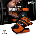 WYOX Weight Training Gym Leather Gloves Sports Excercise Wrist Straps Grip Wrap