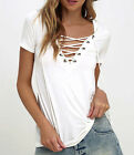 Women Ladies Lace-up V Neck Blouse Fashion Short Sleeve Casual T-shirt Tops