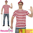 Licensed Mens Where's Wally Wheres Waldo Costume Shirt Hat Glasses Book Week