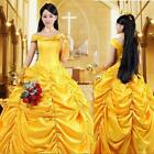 Princess Beauty And The Beast Costume Beautiful Belle Cosplay Women Dress Yellow