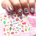 1Pc Girl Lovely Cute Colorful Christmas Tree Snowman Bell Nail Stickers Toys