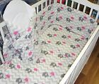 5 Pcs Baby Nursery Bedding Set fit Cot 120x60 or Cot Bed 140x70cm -PADDED Bumper