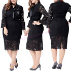 Plus Size Women Long Sleeve Lace Prom Ball Cocktail Party Evening Formal Dress