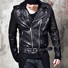 NewStylish mens tops 100% Genuine leather two zipper accent belted rider jacket
