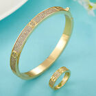 Nail bangle Love Bracelet and ring with zircons stainless steel gold 18k/ Silver