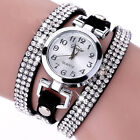 Bracelet Crystal Leather Dress Analog Quartz Wrist Watches Fashion Women Watch