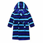 New Pyjamas Boys Fleece Dressing Gown Robe (Sz 8-14) Blue Stripes (791)