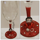 Betty Boop Inspired Glitter Decorated Large Wine Glass Gift £9.99 GBP