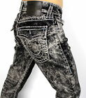 True Religion Men's Ricky Straight Mineral Marble Super T Jeans - M859NZO4