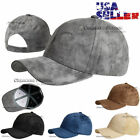 New Baseball Cap Plain Solid Faux Suede Vintage Visor Hip Hop Hat Mens Women's