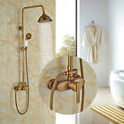 "Widespread Antique Brass Shower Set Bath 8"" Rainfall Shower Head+Ceramic W/Hand"