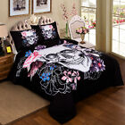 Skull Queen King Single Size Bed Linen Pillowcases Quilt/Doona/Duvet Covers Set