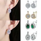 Women`s Wedding Elegant 925 Silver Plated Crystal Rhinestone Ear Stud Earrings