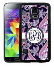 MONOGRAMMED RUBBER CASE FOR SAMSUNG NOTE 5 4 3 NAVY PINK PAISLEY