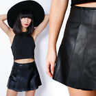 Black High Waisted Origami Mini Skirt Blogger Faux Leather Skorts Shorts S M L