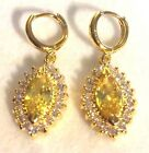 N20 Marquise Yellow Citrine+Diamante Drop Earrings WG or Yellow Gold F Plum BOXD