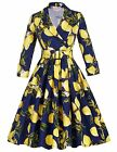 Belle Poque Women's Floral Tea Party Vintage 50s Swing Dresses with Sleeves