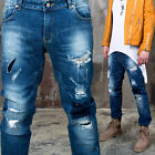 NewStylish mens bottoms Distressed patchwork accent blue denim slim jeans