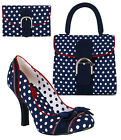 Ruby Shoo Amy Navy Court Shoe & Matching Riva Bag & Garda Purse UK3-9 36-42