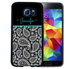 MONOGRAMMED RUBBER CASE FOR SAMSUNG S8 S7 S6 S5 EDGE PLUS PAISLEY TEAL BLACK