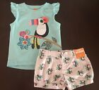 NWT Gymboree Girl Jungle Brights Blue Toucan Tee & Bubble Short Outfit 3T 4T 5T