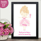 Bridesmaids Thank you Gift - Personalised Fairy Pink Fairy Word Art Print Gift