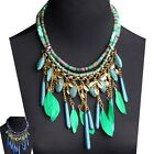 Vogue Statement Necklace Women's Leaf Rope Chain Feather Chunky Bib Pendant