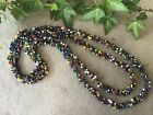 Retro Seed Bead Braid Necklace Extra Long Hippy Love Beach 1980s Indian