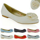 NEW WOMENS FLAT PUMPS SATIN FLOWER BRIDAL LADIES PARTY BALLERINA DOLLY SHOES
