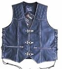 MENS LEATHER BIKER WAISTCOAT FISH HOOK BUCKLE-SIDE LACES BLACK OLD STYLE