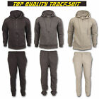Mens Plain Fleece Hoodie Sports Tracksuit Set Fleece Hooded Zip Up Top Bottoms