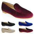 WOMENS FLAT LOAFERS LADIES VELVET SLIP ON PUMPS WORK OFFICE CASUAL CLASSIC SHOES