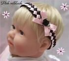 WOVEN SATIN RIBBON BABY REBORN DOLL HEADBAND PINK WHITE RED YELLOW PREEMIE-12M