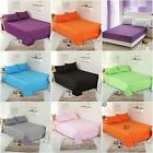 Solid Sheet Set  Bed Flat Fitted Sheet Set Queen/King Size Pillowcases Set 4pcs