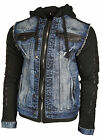 Mens Cipo And Baxx CJ154 Full Zip Denim Hooded Jacket With Fabric Sleeves Blue