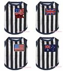 Black White Striped Top T-Shirt National Flag Pet Cat Dog Puppy One Piece Cloth