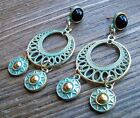 Aztec Chandelier Earrings Gold Tone Turquoise Pantina Gypsy Boho Fashion Jewelry