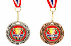 10 x Silver or Bronze, School Sports Day Medal on Ribbon, Round, Wreath Design