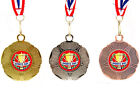 10 x Silver Gold or Bronze School Sports Day Medal on Ribbon, Tudor Rose Design