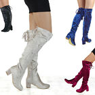 WOMENS THIGH HIGH VELVET LACE UP LADIES LOW HEEL OVER THE KNEE HIGH LONG BOOTS