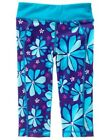 GYMBOREE GYMGO TEAL FLOWER ACTIVE CROP LEGGINGS 7 8 10 12 NWT