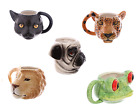 Novelty Ceramic Mugs - Animal Head Design -Tea or Coffee Cups, Gift Boxed, New