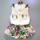 2PCS Toddler Baby Girls Outfits Floral Lapel Clothes Shirt Tops+Shorts Pants Set