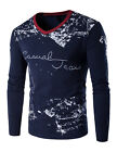 US Stylish Mens Slim Fit Long Sleeve Slim T-shirts Casual Tee Shirt Top Pullover