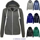 New Womens Ladies Plain Zip Hoodie Sweatshirt Fleece Zip Hooded Jacket Top