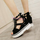 Womens Open Toe lace up Buckle platform wedge hogh heels sandals Roma shoes Size