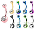 Double Gems Navel Belly Button Ring Titanium Anodized Surgical Steel 14Ga 3/8""