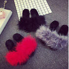 Women's Fur Fluffy Marabou Mules Slip On Sandals Feather Sliders Slippers Size