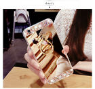 New Luxury Diamond Crystal Ring Holder Stand Kickstand Mirror Phone Case Cover