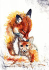Original Watercolour Foxes Print by Artist Be Coventry wildlife art